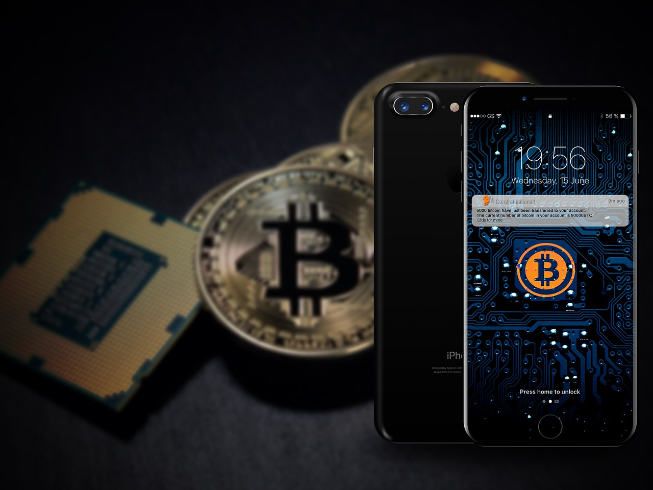 iphone with bitcoin at the back