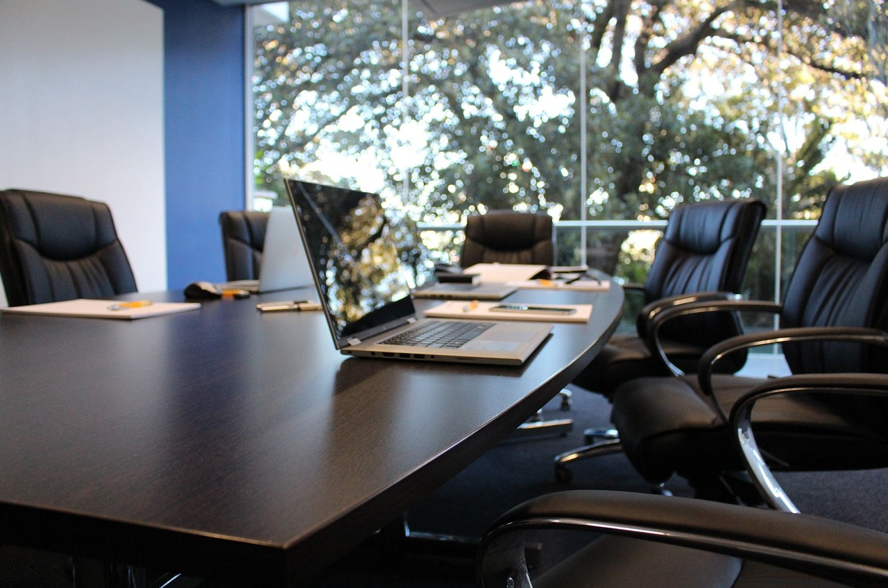 conference room with laptop on the table