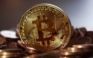 Bitcoin on gold coin