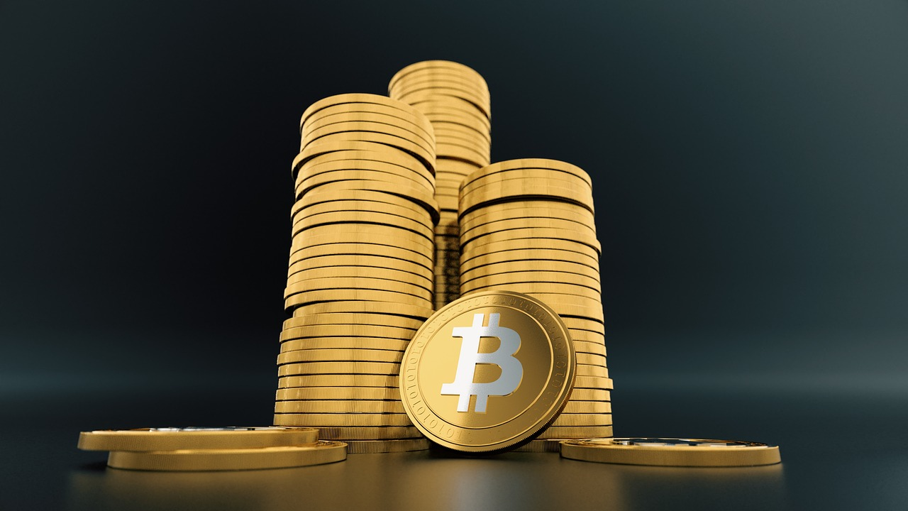 Stack of gold bitcoins